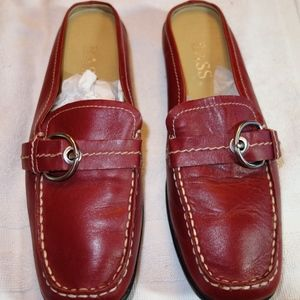 Red Bass leather slip-ons